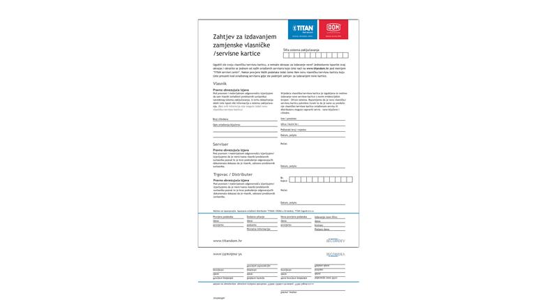 Zahtjev za izdavanjem zamjenske kartice